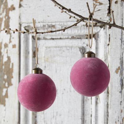 Velvet Globe Ornaments, Set of 2