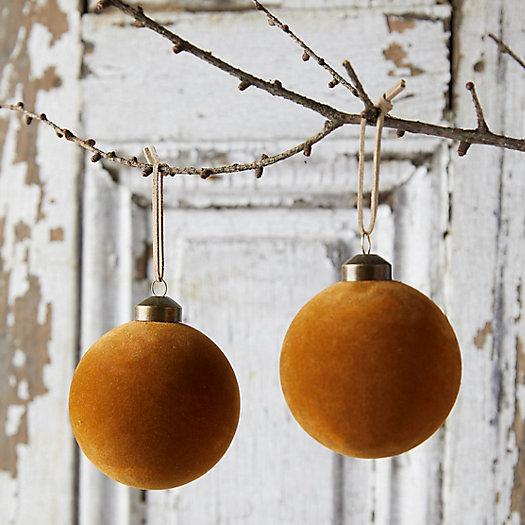 View larger image of Velvet Globe Ornaments, Set of 2