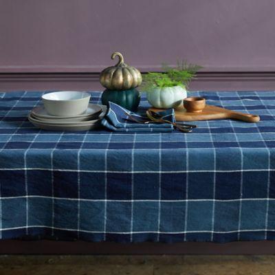 Check Linen Blend Tablecloth