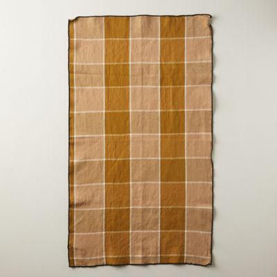 Check Linen Blend Tea Towel