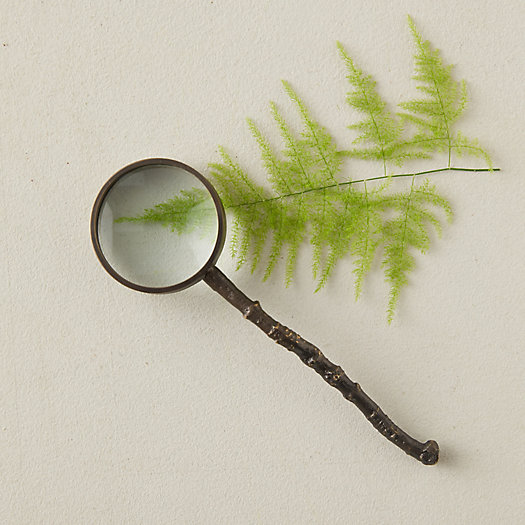 View larger image of Antique Brass Magnifying Glass, Long