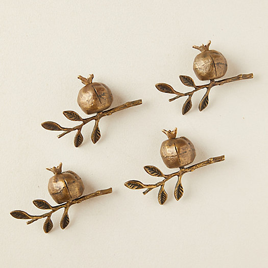 View larger image of Brass Pomegranate Place Card Holders, Set of 4