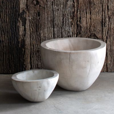 Bleached Wood Serving Bowl
