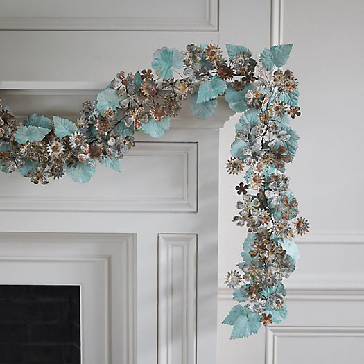 View larger image of Aged Iron Flower + Leaf Garland