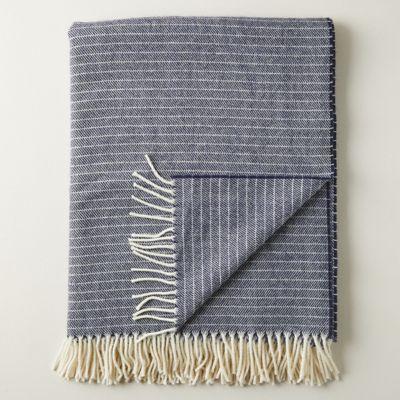 Merino Wool Marled Navy Throw
