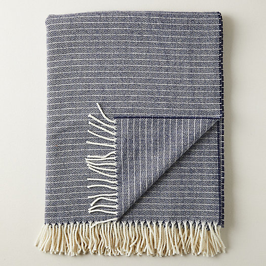 View larger image of Merino Wool Marled Navy Throw