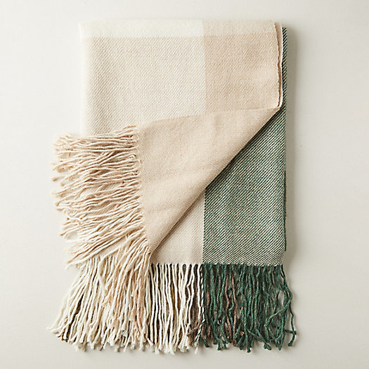 View larger image of Alpaca Green + Cream Plaid Throw