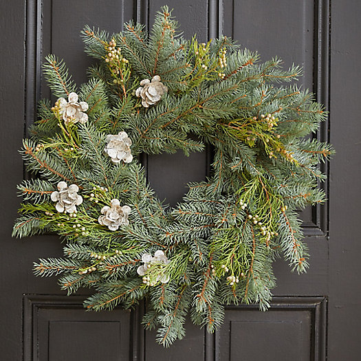 View larger image of Evergreen + Rosebud Wreath