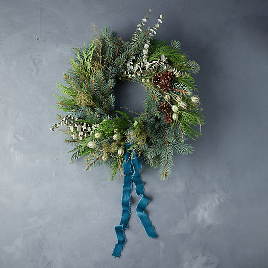 View larger image of Fresh Winter Frost Wreath with Ribbon