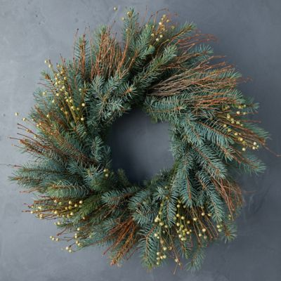 Fresh Noble Fir + Quail Brush Twig Wreath