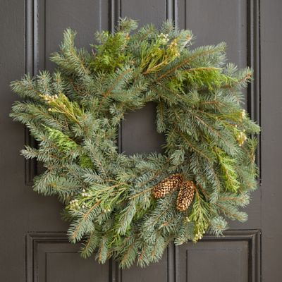Fresh Mixed Evergreen + Pine Cones Wreath