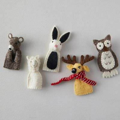 Felted Wool Animal Finger Puppets, Set of 5