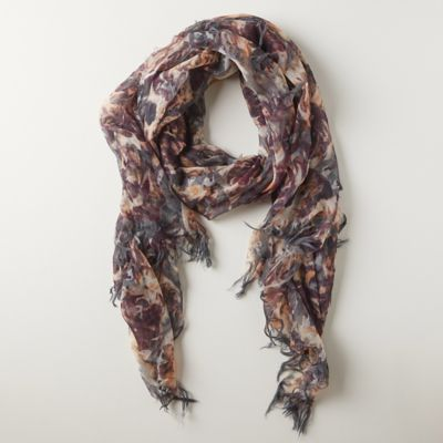 Sepia Florals Wool Scarf