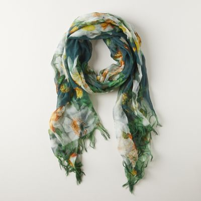 Evergreen Blooms Wool Scarf
