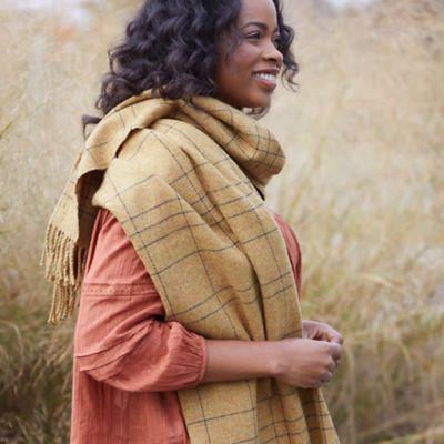 Merino Wool Yellow Check Wrap