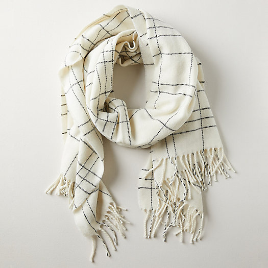 View larger image of Checked Cream Merino Wool Wrap
