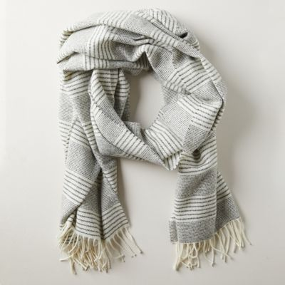 Striped Gray Merino Wool Wrap