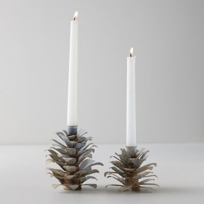 Aged Iron Pine Cone Candlesticks, Set of 2