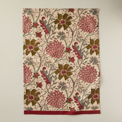 Burgundy + Olive Florals Tea Towel