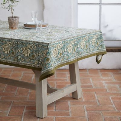 Olive Peacock Tablecloth