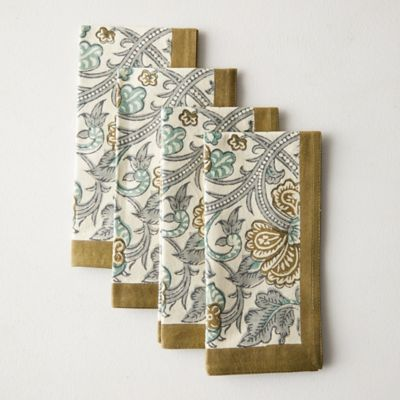 Olive Peacock Napkins, Set of 4