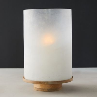 Frosted Glass Candle Holder with Wood Base