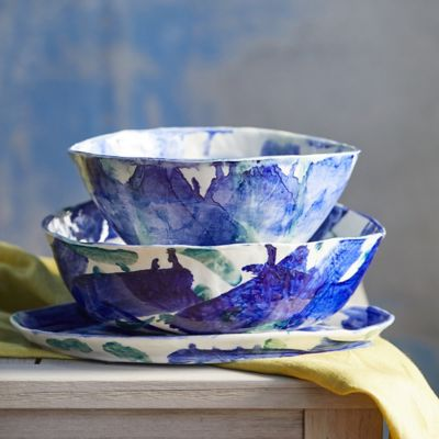 Color Swirl Porcelain Serving Bowl