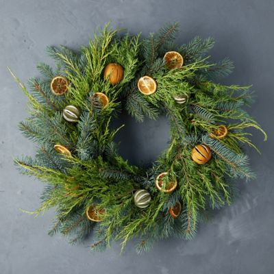 Fresh Evergreen + Dried Citrus Wreath