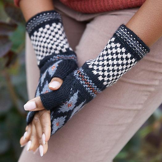 View larger image of Alpaca Wool Geo Print Fingerless Gloves