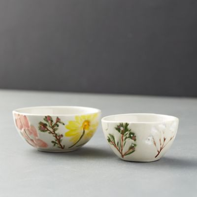 Meadow Flowers Ceramic Dip Bowls, Set of 2