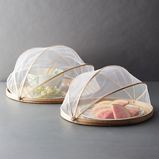 View larger image of Bamboo + Mesh Food Covers, Set of 2