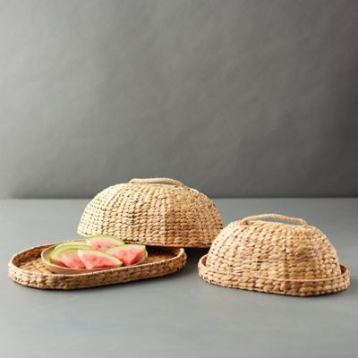 Woven Straw Food Covers, Set of 2