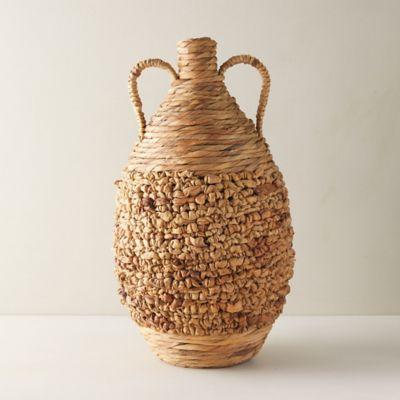 Woven Floor Vase with Handles
