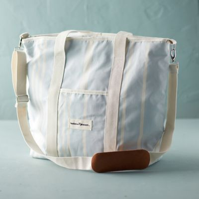 Cotton Stripe Cooler Tote Bag