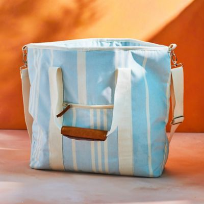 Cotton Stripe Cooler Tote Bag