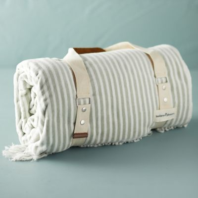 Newport Fringed Striped Beach Blanket