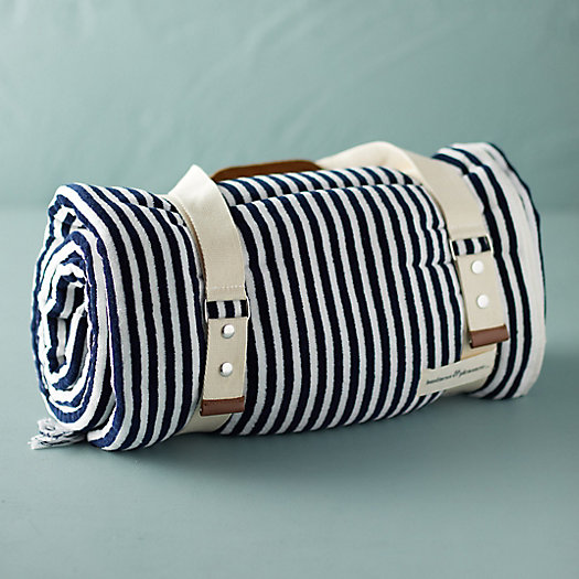 View larger image of Newport Fringed Striped Beach Blanket