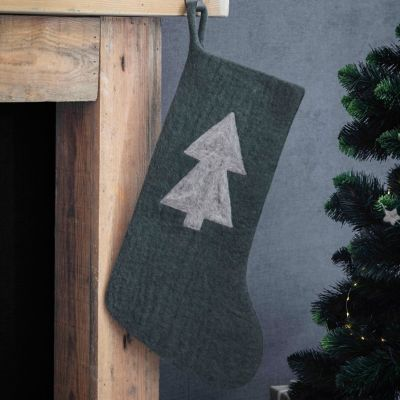 Felted Wool Evergreen Stocking
