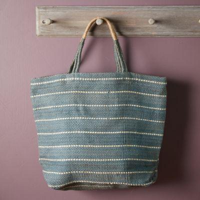 Woven Jute Tote Bag, Sage Stripe