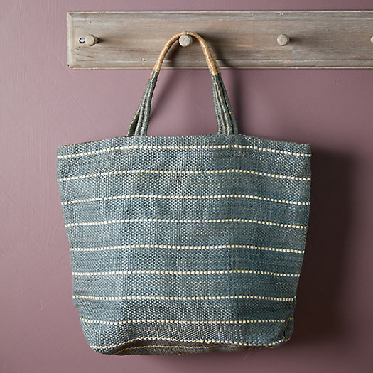 View larger image of Woven Jute Tote Bag, Sage Stripe