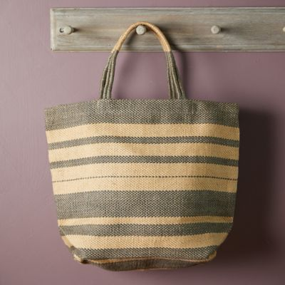 Woven Jute Tote Bag, Natural Stripe