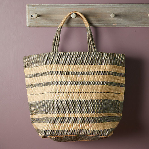 View larger image of Woven Jute Tote Bag, Natural Stripe