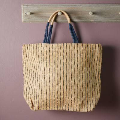 Woven Jute Tote Bag, Indigo Stripe
