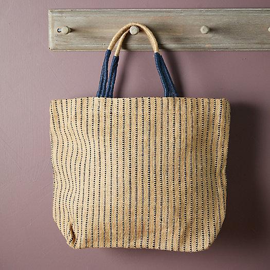 View larger image of Woven Jute Tote Bag, Indigo Stripe