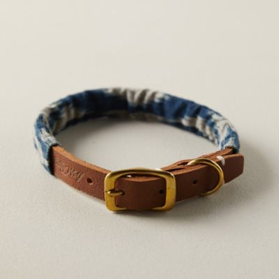 Cotton + Leather Pet Collar, Ikat
