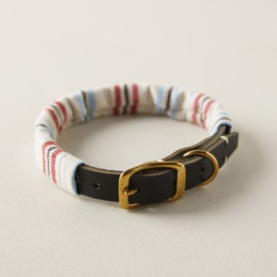 Cotton + Leather Pet Collar, Stripe