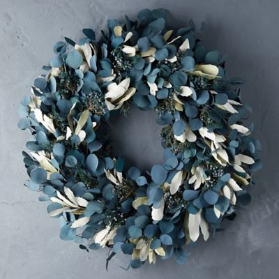 Preserved Silver Dollar Eucalyptus Wreath, Blue + Cream
