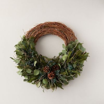 Preserved Eucalyptus + Cedar Asymmetrical Wreath