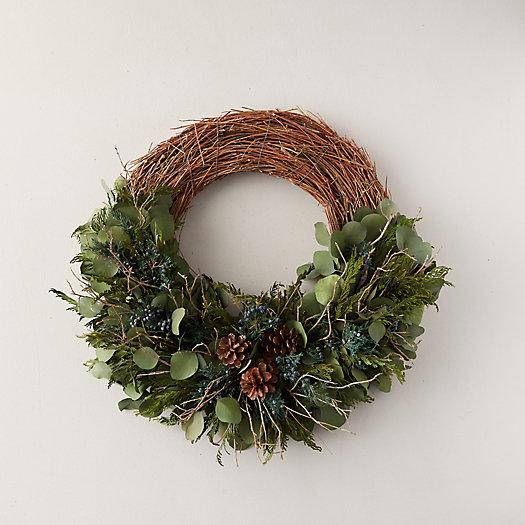 View larger image of Preserved Eucalyptus + Cedar Asymmetrical Wreath