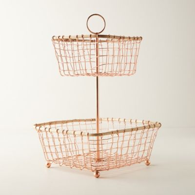Copper Wire Two-Tier Stand
